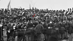 Crowd of_citizens soldiers and etc. with Lincoln (red arrow)at Gettysburg.